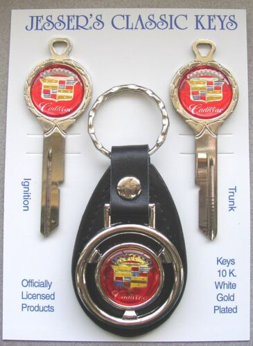 Red Cadillac Crest Deluxe Classic White Gold Keys Set 1967 1971 1975 1979
