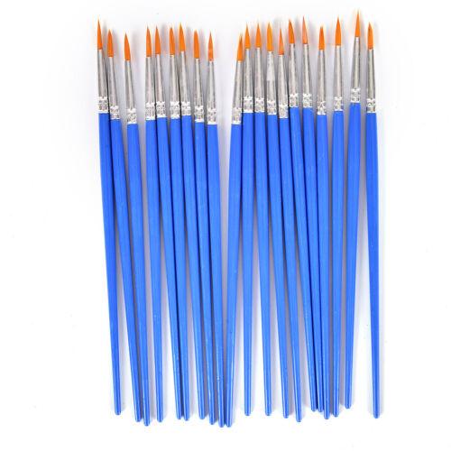 10Pcs Nylon Hair Artist Paint Brush Acrylic Watercolor Round Fine Hand Point LVE