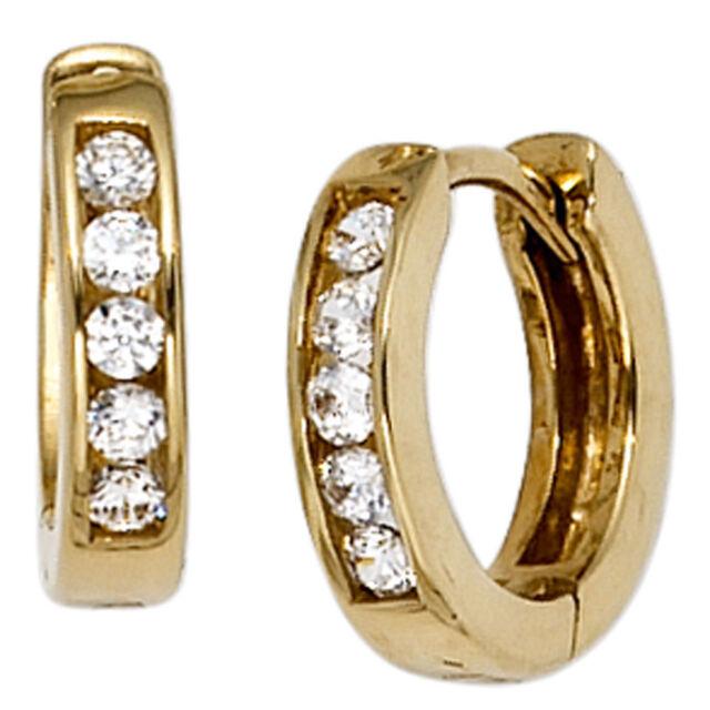 Creolen rund 333 Gold Gelbgold 10 Zirkonia Ohrringe Goldohrringe Goldcreolen.