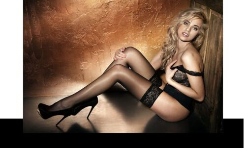 Lace Top 20 DEN Sheer Hold-Ups Stockings Various Colours M-XXXXL also PLUS SIZE