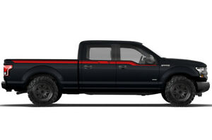 RED Supercab 6.5 Bed Vinyl Decal Rally Stripe 2 Wrap for 15-17 Ford F-150 BLK