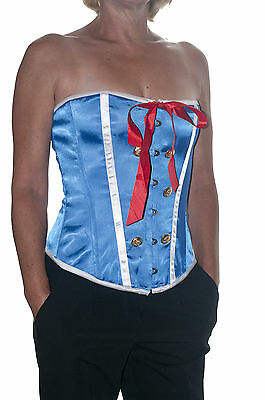 Satin Bow Top Tops sizes 6 10 Ladies Corsets Blue Satin Corset with Button