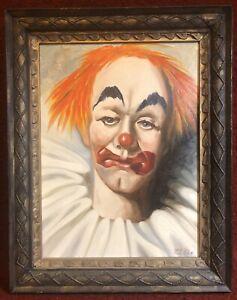 Vintage original sad clown oil painting