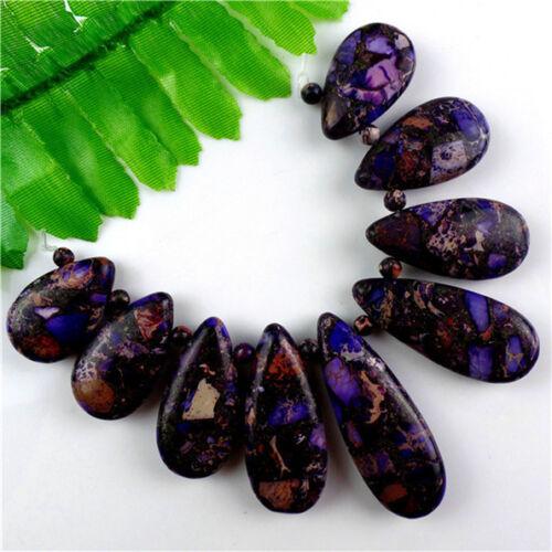 9Pcs Charming Purple Sea Sediment Jasper /& Pyrite Pendant Bead Set H9TJ1