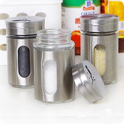 Stainless Steel+Glass Spice Jars Condiment Pot Salt Pepper Kitchen Storage