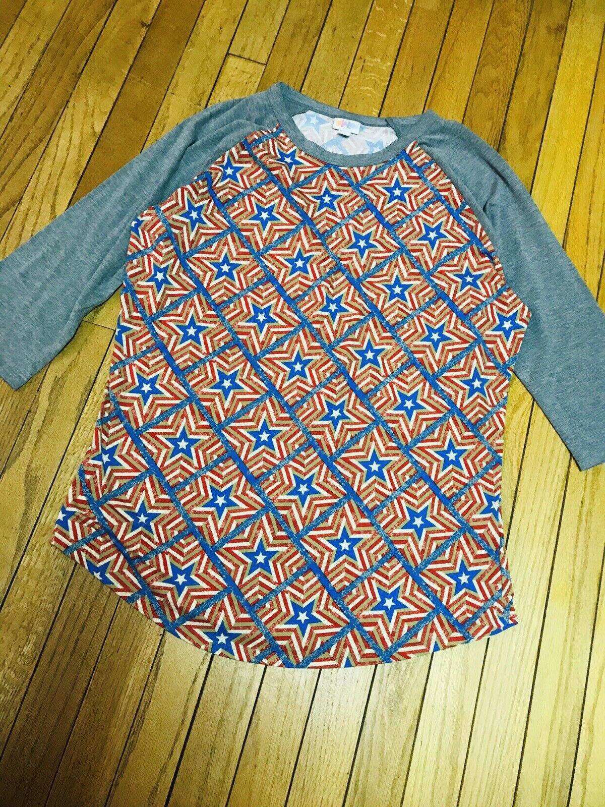 Lularoe XL Stars Patriotic Red White bluee Randy NWOT 3 4 Sleeve Knit Top