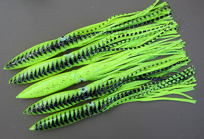 """12 LOT 15/"""" SEA STRIKER BULBHEAD SQUIDS FOR SPREADER BARS TEASERS CHARTREUSE"""