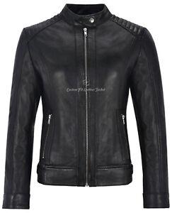 Leather Padded Real Fashion 4550 Lambskin Ladies Jacket Style Biker Retro Black YB5nqWHnv