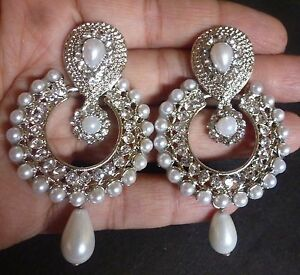 Image Is Loading Indian Antique Silver Plated Vintage Pearl Drop