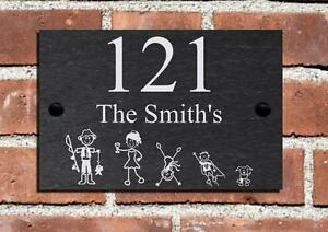 27500c1712e4 New Stick Family Slate House Name Plaque Door Number Sign Gate ...
