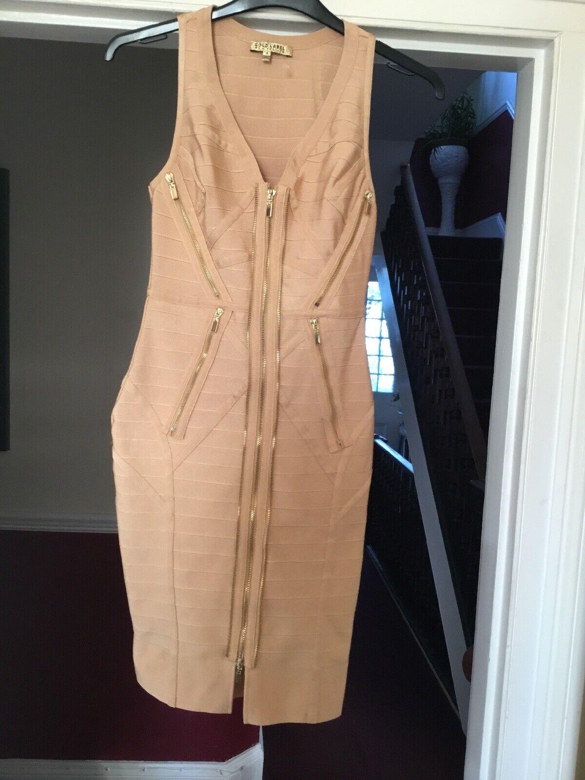 oro Label WOW Couture taglia taglia taglia S abito zip oro 48d855