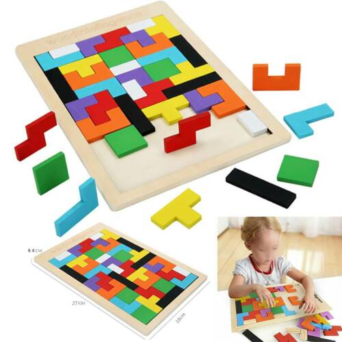 Wooden Tetris Building Block Puzzle Montessori Preschool Learning Kids Toys Gift