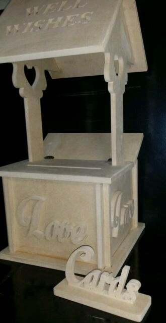 WEDDING WISHING WELL HANDCRAFTED RAW MDF. Wedding cards keeper