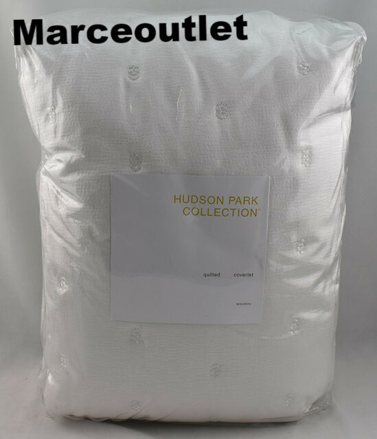 Hudson Park Collection Nouveau FULL / QUEEN Quilted Coverlet Off White