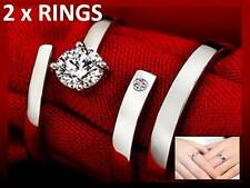 2 x 925 STERLING SILVER PLATED ADJUSTABLE RINGS FOR WOMEN + GIFT POUCH