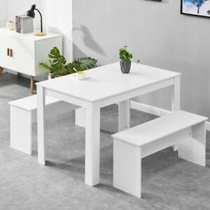 White Dining Table Bench Set Kitchen Dining Room Restaurant Furniture Modern Ebay