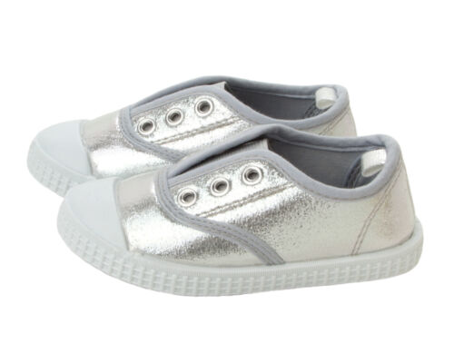 GIRLS SILVER GLITTER ELASTICATED SLIP ON WALKING PUMPS TRAINERS SHOES SIZE 6-12
