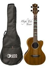 Luna High Tide Series Ovankol Tenor Acoustic-Electric Ukulele, UKE HTT OVA