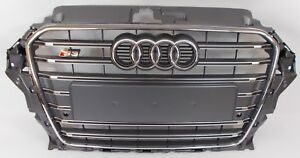 NEW-GENUINE-AUDI-S3-8V-PLATINUM-GREY-PARKING-AID-FRONT-BUMPER-RADIATOR-GRILLE