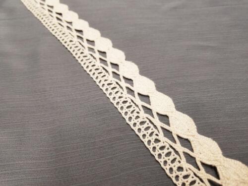 1 Meter Vintage Cotton Crochet Scallop Wedding IVORY Lace Trim Ribbon 15 Design