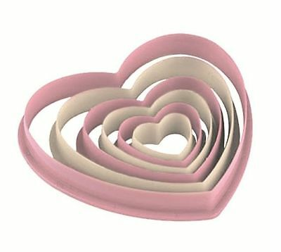 6 HEART SHAPED COOKIE BISCUIT PASTRY FONDANT DOUGH CUTTER HOME BAKING SET HK8032