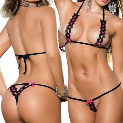 Valentines Day Sexy Lingerie Lace Top Bra Thong Underwear Nightwear Sleepwear Uk