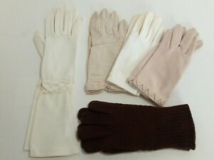 Vintage-Womens-Gloves-Lot-of-5-Pair-4-Formal-Wear-1-Casual-Warm