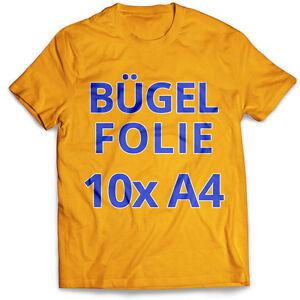 10-Blatt-DIN-A4-T-Shirt-Transferfolie-Buegelfolie-Folie-fuer-dunkle-Stoffe