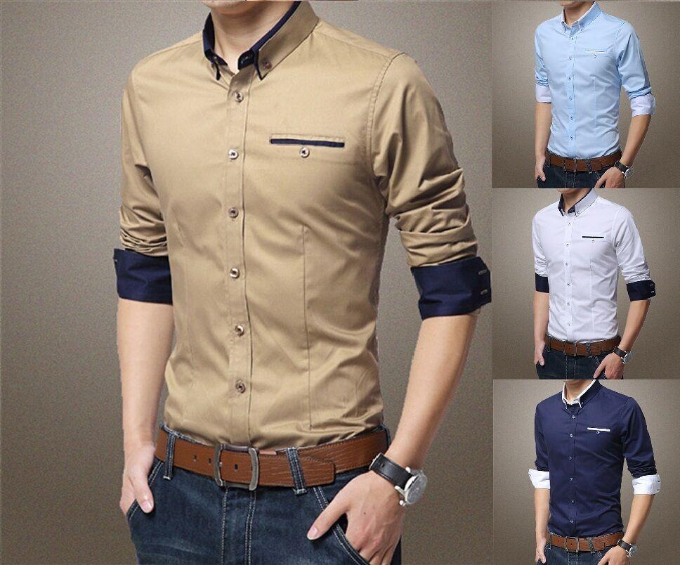 GodeyesMen Godeyes Men Casual Long Sleeve Britain Peaked Collar Button Down Print Tops Dress Shirt