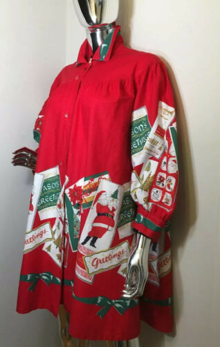 Vtg Holiday Red Dress 50s Smock Greeting Cards LOU