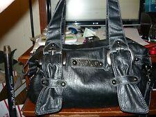 XOXO Large Sized Triple Strap Black Faux Leather Purse Hobo Handbag Satchel NEW