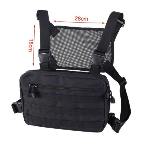 Adjustable Mens Chest Bag Tactical Molle Harness Chest Rig Hip-Hop Fanny Pack