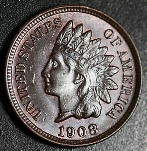 1908-INDIAN-HEAD-CENT-BU-UNC-With-CARTWHEELING-BROWN-MINT-LUSTER