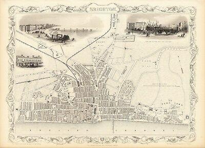 1851 Old Vintage British Malta Gibraltar decorative map Tallis ca