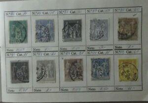 Lote-10-sellos-stamp-France-Republica-usados-antiguos-yvert-75-78-83