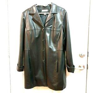 PRESTON-amp-YORK-II-Womens-Size-1X-Black-Lambskin-Leather-Lined-Cuff-Sleeve-Jacket