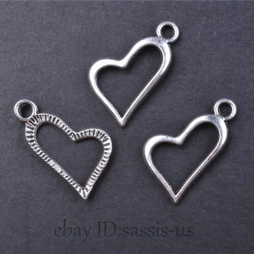 100 pieces 17mm Heart Pendant Charms Tibetan Silver DIY Jewelry Necklace A7636