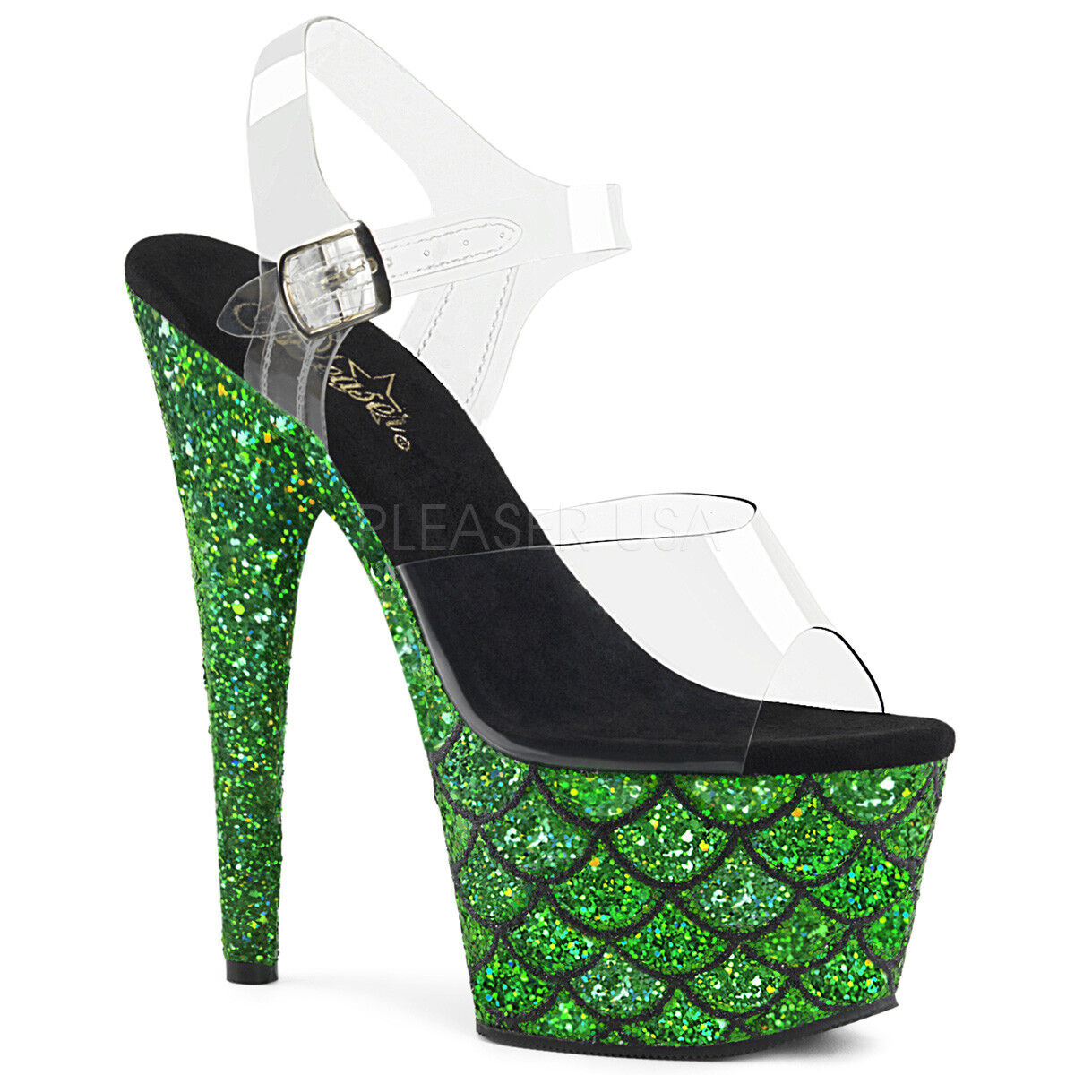 PLEASER 7  Heel Green Green Green Glitter Mermaid Platform Ankle Strap Stripper shoes ca2c33