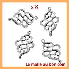 8 CONNECTEURS en métal couleur argenté,perle,fimo,apprêt-co006