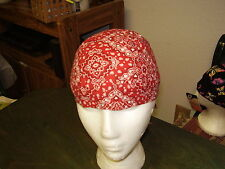 HEAD WRAP Wraps Do Du Doo Rag Skull Cap Bandana - Red Small Paisley