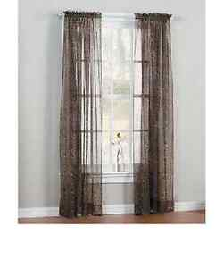 2pc Brown Leopard Printed Soft Voile Sheers Window Curtains Panels