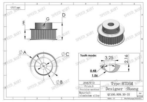 5M HTD5M Aluminum Timing Belt Pulley 36 Teeth 15mm Bore 21mm width Stepper Motor