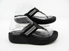 FitFlop Womens Black Gray Pink Striped Wedge Thong Sandal Shoe 6M Pre Owned #C6