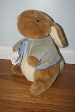 NWT Vintage Eden Peter Rabbit Plush Stuffed Animal Looking Up Blue Jacket 12 in.