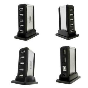 7-Port-High-Speed-USB-2-0-Hub-fuer-Desktop-und-Laptop-NETZTEIL-ENTHALT-O0Q4