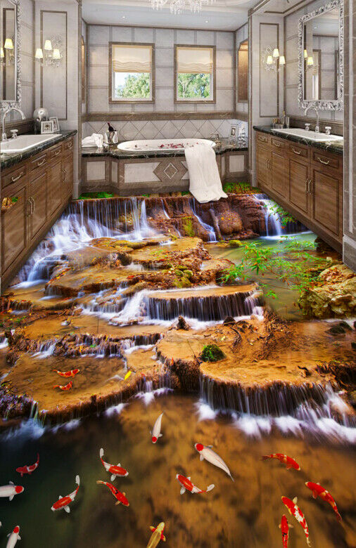 3D Koi Lake Waterfall 73 Floor WallPaper Murals Wall Print Decal AJ WALLPAPER US
