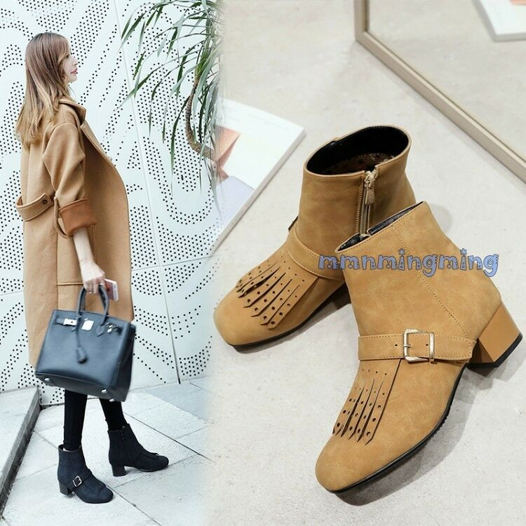 4d18c5cecac Tassel Ankle Boots Faux suede Strap Block Heels Winter shoes Plus ...