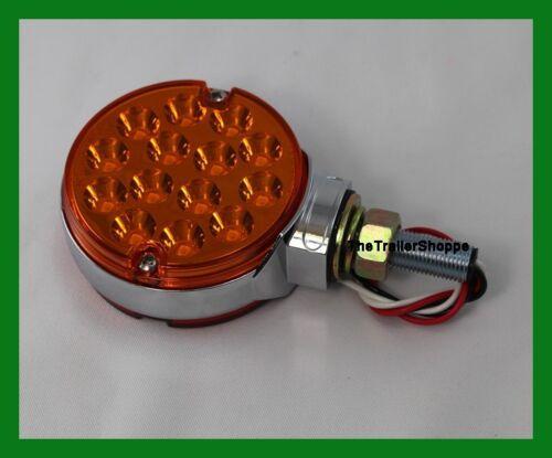 """Pedestal Fender Light 3/"""" Round 28 LED Amber Red Lens with Chrome Ring W// Visor"""