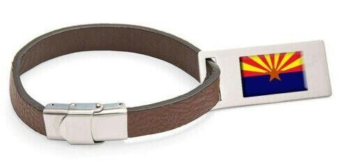 Arizona Drapeau Cuir Étiquette de Bagage Acier Gravé Texte