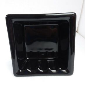 Black-Ceramic-Recessed-Soap-Dish-Tray-Niche-Vintage-Mid-Century-Modern-Retro